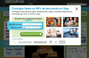 Lightbox intrusivo en Groupon