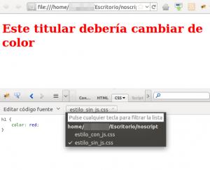 Titular en rojo para los usuarios sin JavaScript