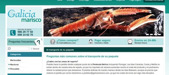 Cabecera de la web de Galicia Marisco