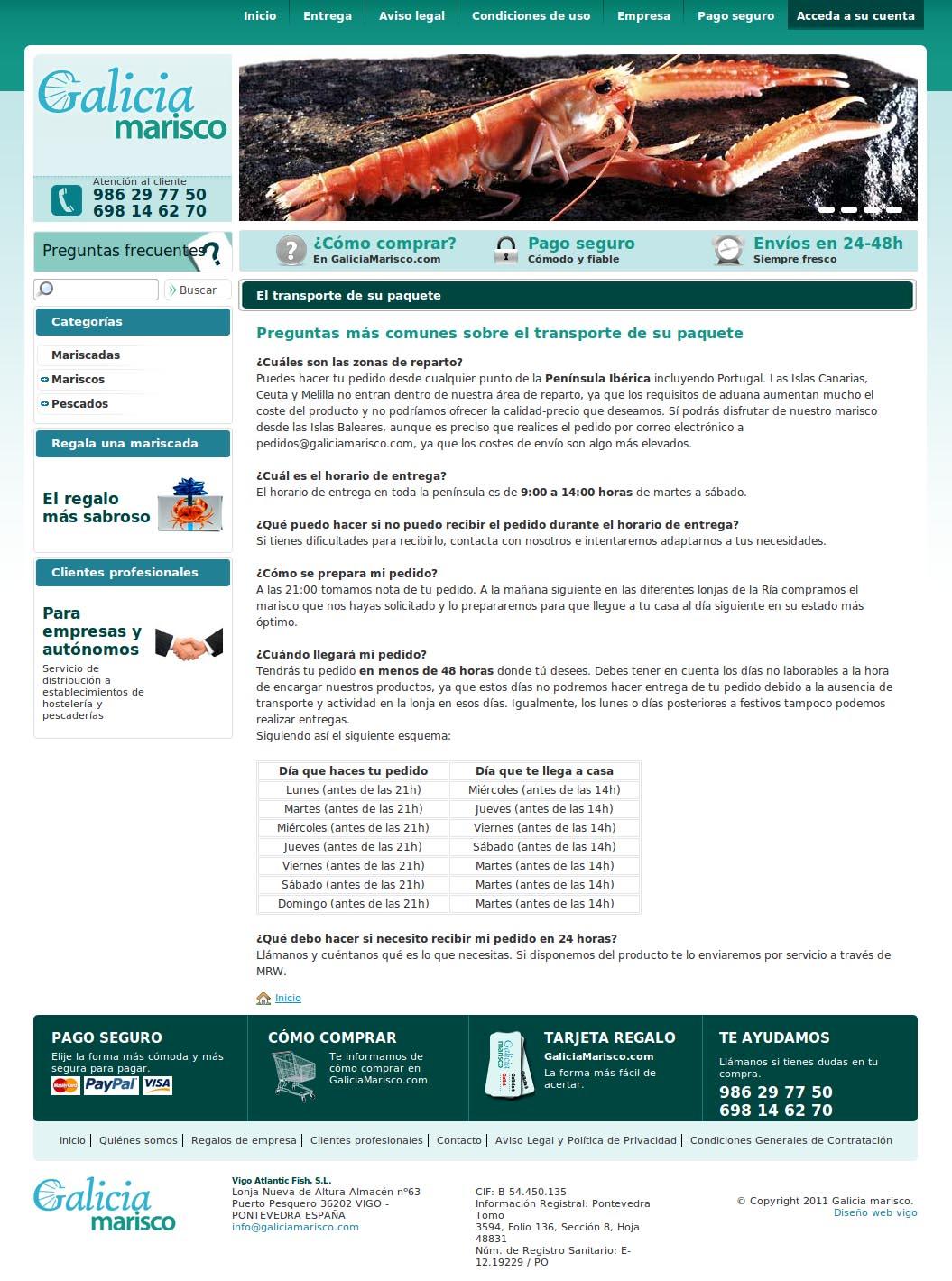 Captura de la Web de Galicia Marisco