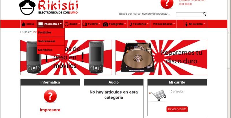 Menú desplegado de la web de Rikishi
