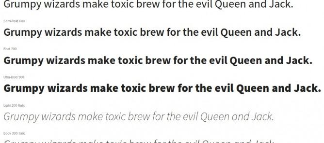 Variaciones tipográficas de la fuente Source Sans Pro de Adobe