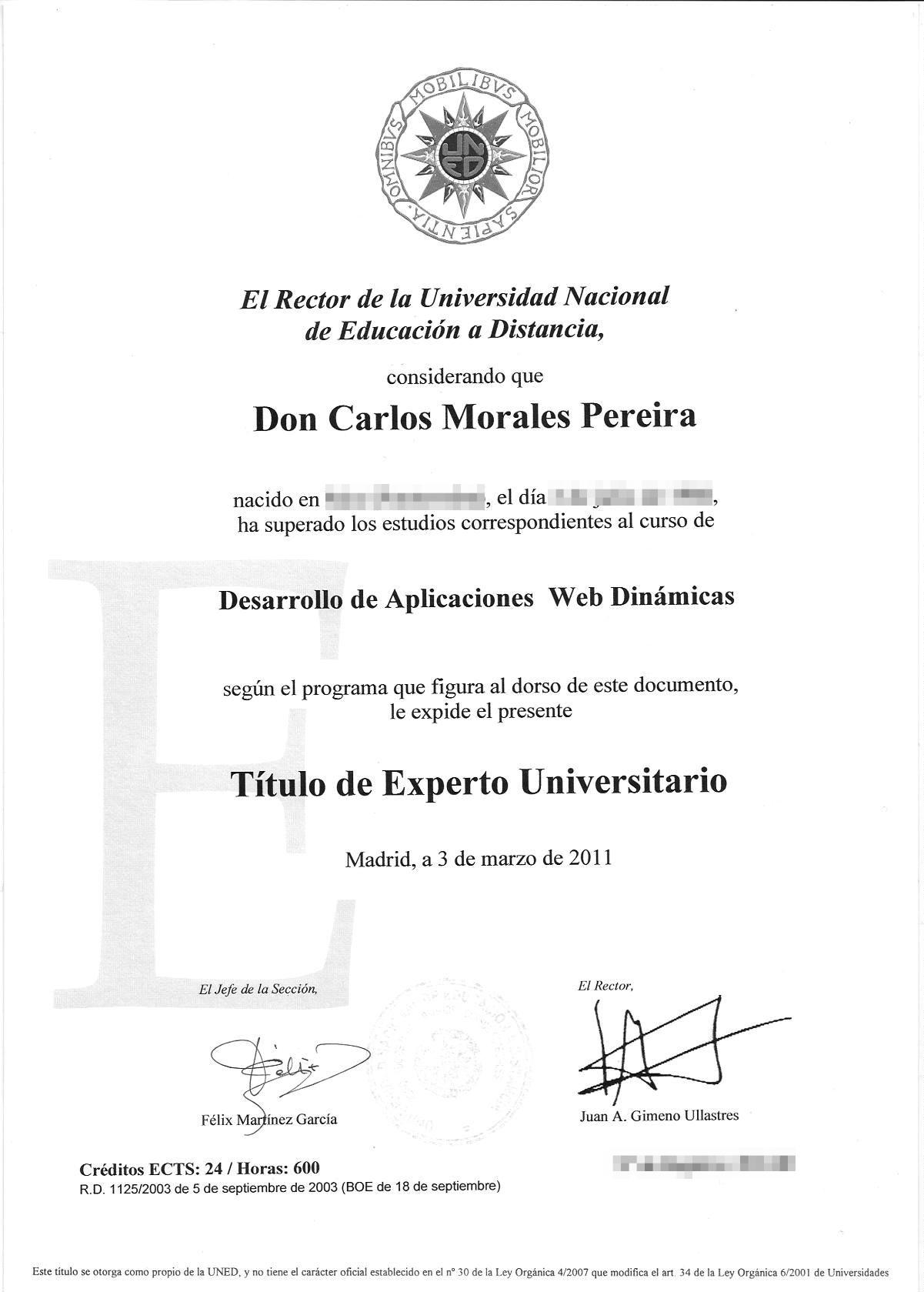 Título de Experto Universitario en Desarrollo de Aplicaciones Web Dinámicas