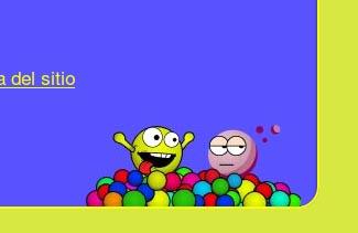 En el footer de la web se incluyen unas bolas entre las que se camufla el logotipo de Vifordat.