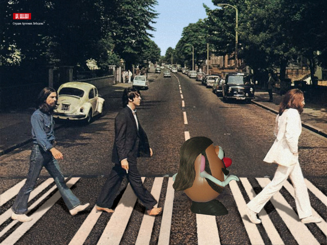 Mister Potato cruzando Abbey Road