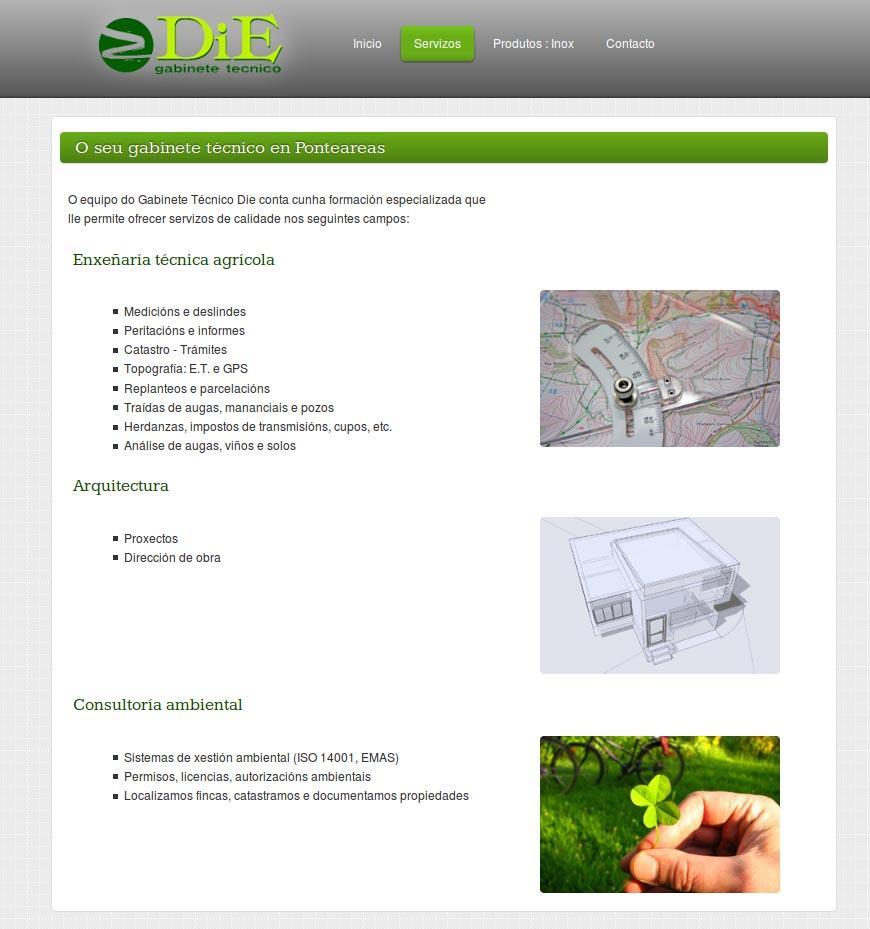 Página interior de la web de DiE