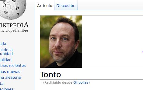 Foto de Jimmy Wales junto a la palabra tonto