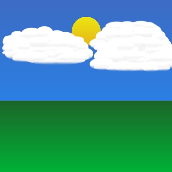 Nubes situadas en la escena previa a la animación